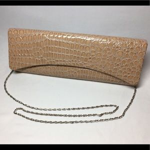 Faux Snakeskin Tan clutch purse